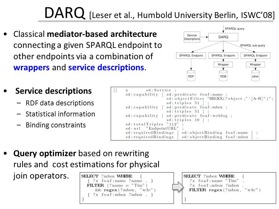 DARQ [Leser et al., Humbold University Berlin, ISWC'08]